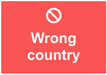 Wrong country